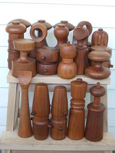 Danish Modern Teak Pepper Mills.