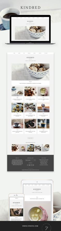 Stunning + Minimal Wordpress theme for Bloggers, Food Bloggers will love the custom-designed recipe feature! Clean whitespace website design for lifestyle + food bloggers | simple Wordpress themes for beginners | Kindred Theme @stnsvn afflink