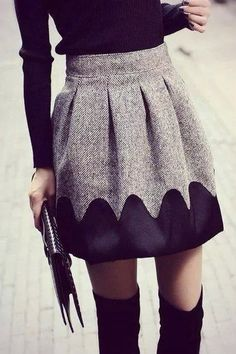 cute gray skirt and thigh high boots. perfect fall outfit or winter outfit with tights Look Fashion, Womens Fashion, Cheap Fashion, Sweet Fashion, Fashion Hair, Cheap Skirts, Gray Skirt, Pleated Skirt, Skater Skirts