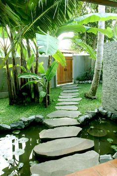 ✔️ 100 Fun Backyard Landscaping Idea How About An Exotic, Tropical Backyard Resort 29 Patio Tropical, Tropical Garden Design, Tropical Landscaping, Backyard Landscaping, Landscaping Ideas, Patio Ideas, Pond Ideas, Tropical Gardens, Modern Tropical
