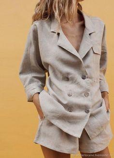 Cotton And Linen Double-Breasted Temperament Suit Shorts Suit – Mrcovic Source by clothes suit Look Con Short, Stylish Clothes For Women, Linen Suit, Short Suit, Casual Suit, Mode Streetwear, Linen Shorts, Mode Style, Suits For Women