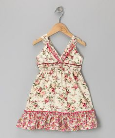 Take a look at this Stone Floral Ruffle V-Neck Dress - Toddler & Girls by Lele Vintage on #zulily today!