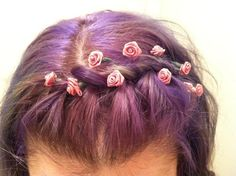 purple+braid+flowers=love. Make me think of my sophomore prom hairstyle.