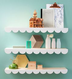 DIY cloud decoration for shelves: Ikea's Ekby Tryggve shelves and MDF for the clouds