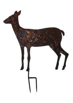 Reh Gartenfigur XL 46 cm hohe Silhouette Schmiedeeisen in Antik Rost Design
