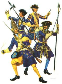 Infantry Swedish army of Charles XII at Poltava: Guards infantry: Grenadier. Unter officer. Drummer. Officer.