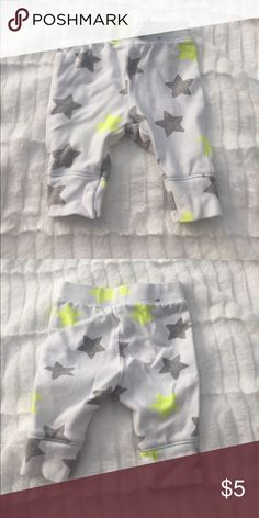 BABY STAR PANTS White joggers with grey and neon starts, faux drawstring cat & jack Bottoms Sweatpants & Joggers