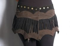 Suede Skirt  with Fringes Steampunk Festival Hipbag by coisasEDGY