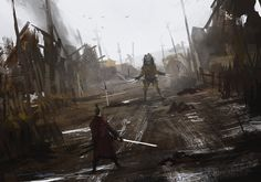 first encounter, Jakub Rozalski on ArtStation at http://www.artstation.com/artwork/first-encounter-54f28e07-17b8-4ee8-ae89-74b077f448f5