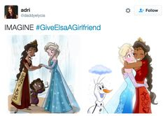 """People On Twitter Are Asking Disney To Give Elsa A Girlfriend In """"Frozen 2"""" >>> i think that's a wonderful idea! They wont give us Jelsa so they have to give us the first lesbian disney Princess/Queen!"""