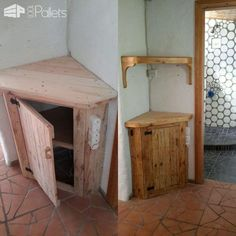 #PalletBookshelf, #PalletCabinet, #PalletCupboard, #PalletStorageIdeas, #RecyclingWoodPallets I made this handy Corner Pallet Cupboard and Bookshelf from two pallets. I built them in an old, rustic building so the look is perfect! However, being an old building, I had to scribe the edges in order to make a snug fit.  Make use of even the