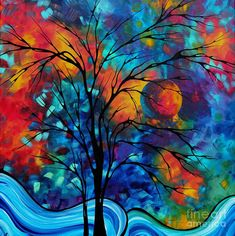 Colorful+Landscape+Paintings | ... Painting - Abstract Art Landscape Tree Bold Colorful Painting A Secret