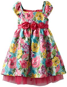 Nannette Little Girls' Colorful Floral Printed With Tulle, Bright Pink, 2T