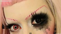 Adorabat Candy Cane Eyebrows Makeup Tutorial (Link: http://gothic.org/beauty/make-up-cosmetics/adorabat-candy-cane-eyebrows-makeup-tutorial/) Adorabat looks amazing. In this makeup tutorial, she shows you a simple tip for getting Candy Cane-themed eyebrows for those holiday parties. She doesn't use that Krylon White as foundation. That is for rookies. Adorabat uses Krylon White to paint designs on her lovely electro goth... - Gothic.org