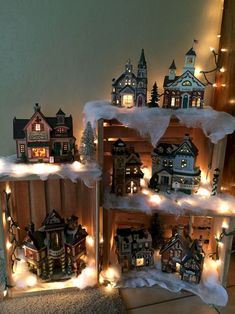There are a few different ways to show your small gather or Christmas village from a window amid the Christmas season. Despite whether you plan on utilizing a garden style, sound, or essentially a level window. Country Christmas, Winter Christmas, Christmas Home, Christmas Wreaths, Christmas Windows, Christmas Village Display, Christmas Villages, Decoration Vitrine, Christmas Projects