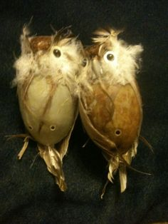 """Lot 2 Brown Feathered Decorative Owls Cute 5"""""""
