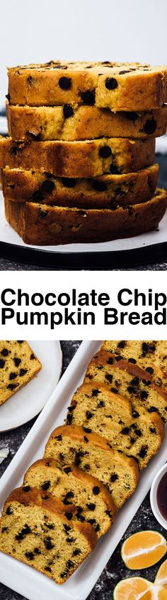Chocolate Chip Pumpkin Bread with an insanely moist inside will be your ultimate pumpkin recipe in fall! Loaded with chocolate chips and homemade pumpkin puree. It always disappears on the same day I make it.