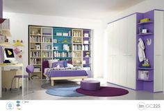 Cute Girls Bedroom Decoration With White Purple And Blue Color Theme Kids Bedroom Wall Ideas Bedroom design