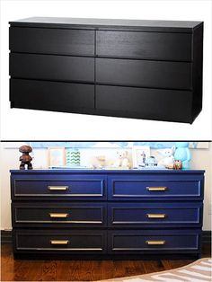 Lacquers paint and molding gave this IKEA Malm dresser a new look.