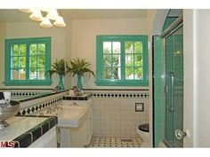 LOVE the jade window to match the shower tile.