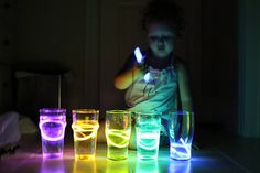 MUSIC: Glowing xylophones! Fill each cup to a different level with water and let kids experiment with the sounds.