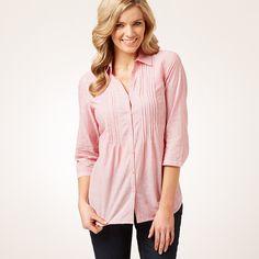 Woven Cotton Striped Pintuck Shirt