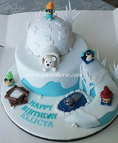 This cake was made for a little girls birthday party at Ski Dubai. All figures are made of gumpaste and I also made a fire place with a tea light candle placed inside so it could be lit up at the event :). Cupcakes, Cake Cookies, Cupcake Cakes, Pingu Cake, Igloo Cake, Christmas Cake Designs, Christmas Design, Winter Wonderland Cake, Penguin Cakes