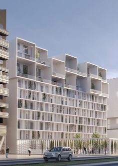 Les Hauts d'Asnières Condominium Architecture, Modern Architecture House, Futuristic Architecture, Facade Architecture, School Architecture, Residential Architecture, Architecture Colleges, System Architecture, High Building