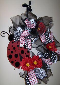 LadyBug Wreath by SassyGirlsNC on Etsy, $75.00