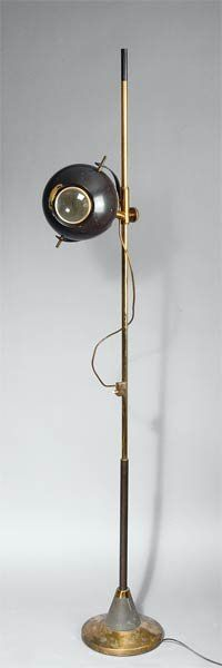 Osvaldo Torlasco; Brass and Enameled Metal Floor Lamp for Lumi, c1955.
