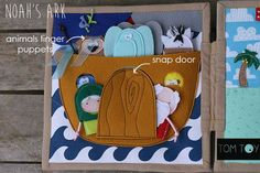 love the rain clouds and the way this ark is set up on this noah's ark quiet book page