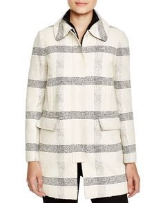 Tory Burch Stitched Windowpane Coat | Bloomingdale's
