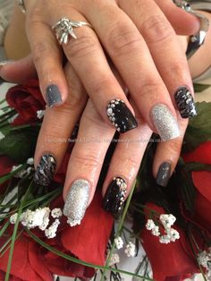 Grey,+black+and+silver+polish+with+leopard+freehand+nail+art+and+Swarovski+crystals