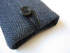 iPhone sleeve (padded) -----gray-and-black wool herringbone, etsy