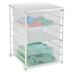 White elfa Mesh Laundry Sorter. Top is an extra surface. Choose from two widths, Wide (shown) or Medium. We offer a variety of Drawer Accessories that you can add to the side, such as the elfa Accessory Basket.