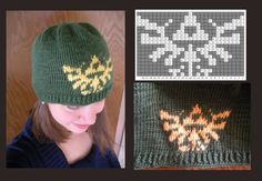 A birthday gift for a certain obsessed friend of mine. Made with Jade and Sunshine in Simply Soft yarn, worsted weight, on 4 gauge needles. Legend of Zelda Skull Cap 8 Bit, Legend Of Zelda, Knit Crochet, Birthday Gifts, Beanie, Skull, Cap, Crafty, Knitting