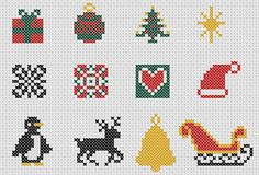 Christmas cross stitch motifs collection of 22 by MKDesignArt, £1.95