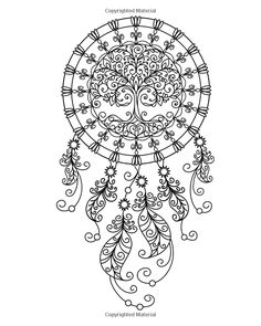 Dream Catcher Botanical Wildflower Adult Coloring Page Instant Digital Download