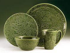 Tabletops unlimited green dinnerware set & Isaac Mizrahi Vertigo Bands 16-Piece Dinnerware Set - The black ...