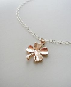 Simple rose gold clover necklace - rose gold shamrock on silver chain. | Perfect gift for me! But please request a 22 inch chain! Thanks!