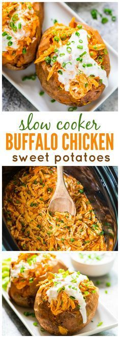 Healthy Slow Cooker Buffalo Chicken Stuffed Sweet Potatoes. Our whole family loves this easy crock pot recipe! Perfect football food for game day and tailgates too. {#whole30, #paleo} #recipe #clairekcreations #sweetpotato #chicken