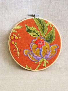 Hoop Art Embroidery, Hand Embroidery, Art, Flower, Floral, Orange, Wall Decor, Wedding, Embroidered Flowers,Flowers,Handmade,Wil Shepherd