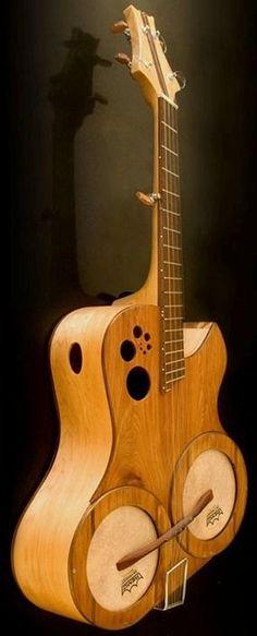 "frettedchordophones: "" Kutthroat Strings ""DubbelHeader"" A double headed guitar like Banjo thing. Must be a bugger to set up? "" =Lardy's Chordophone of the day - a year ago =Lardy's Chordophone of the. Unique Guitars, Custom Guitars, Guitar Pics, Cool Guitar, Making Musical Instruments, Fender Guitars, Acoustic Guitars, Piano, Beautiful Guitars"