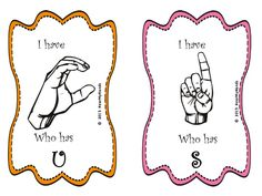 "Free ""I Have Who Has"" ASL Game from Hear My Hands"