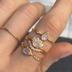 rainbow moonstone and topaz lotus ring / la kaiser