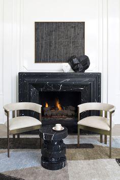 Kelly Wearstler Elliott Chairs and Apollo Stool black + white + brass