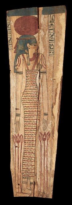 PANEL SHELTER ON BEHALF OF THE LADY Meker. It is painted the goddess of the west, Amentet, profile to the right, dressed in long tight dress painted rafters; she is wearing the blue tripartite wig summoned the solar disk. At his feet, two bouquets of lotus. The top is painted in two hieroglyphic columns (traditional forms) on behalf of the Meker lady. Wooden polychrome stucco. Fragment, slots and some chips. Egypt, Ptolemaic Period.
