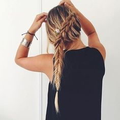 waterfall | side braid | long hairstyle | fishtail | with hair extensions