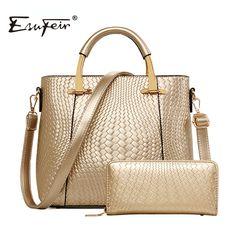 Luxury Golden Genuine Leather Women Handbag Composite Bag Fashion Brand Weave Pattern Leather Shoulder Bag desigual Women Bag  Price: US $81.00  Sale Price: US $34.83  #dressional