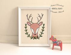 Printable Nursery Art Deer Illustration Instant Download Deer print  https://www.etsy.com/ca/listing/516911224/printable-nursery-art-deer-illustration?ref=shop_home_active_1  for print out version; https://www.zazzle.ca/deer_nursery_art_print_woodland_nursery_poster-228478627297136760